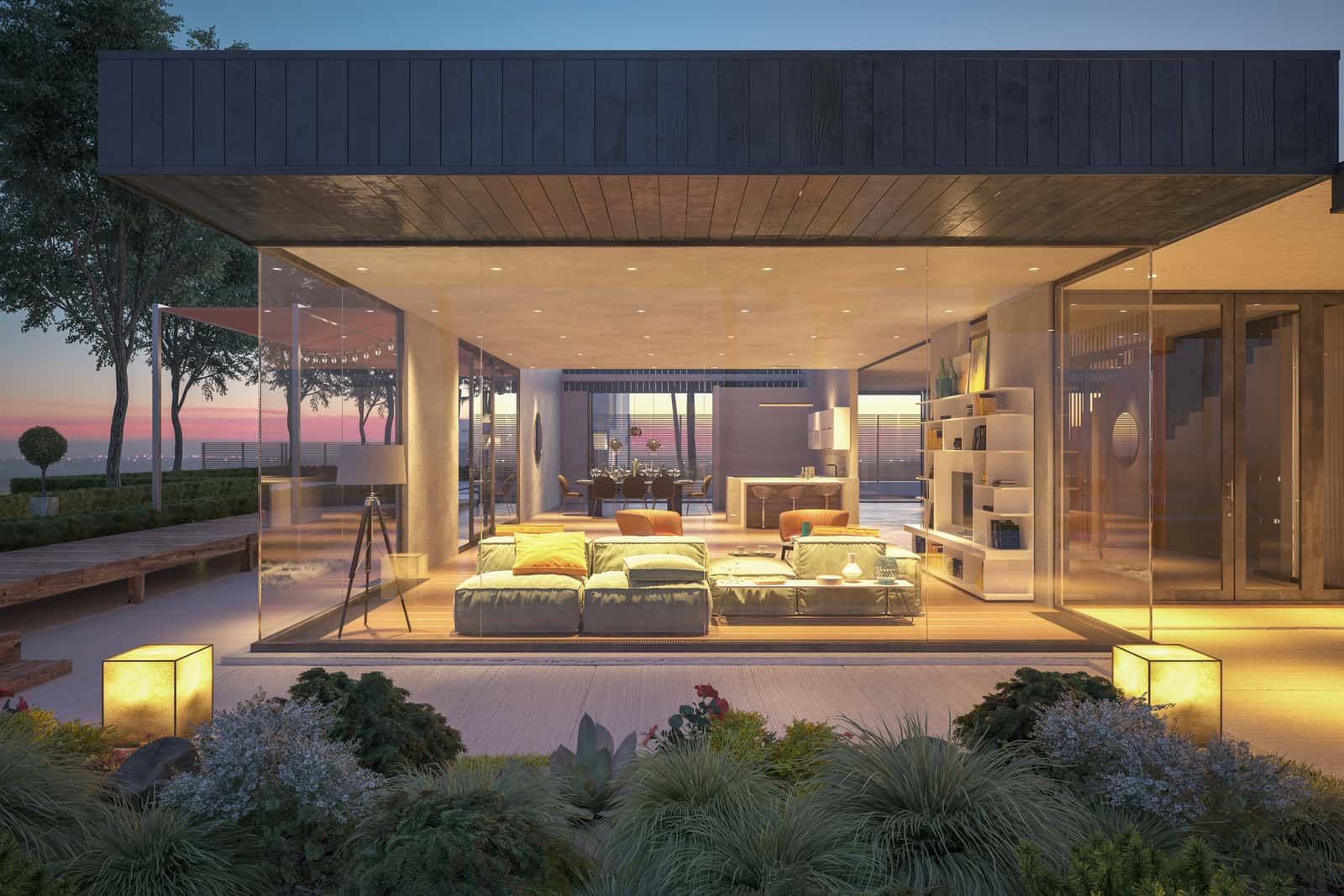 Modern House Outdoors At Night