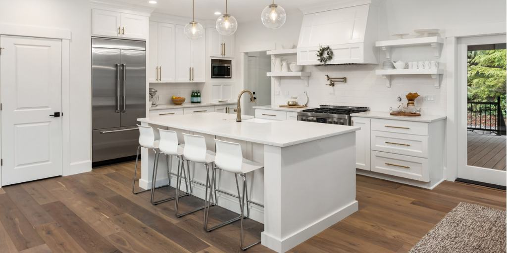 kitchen island in well-designed home