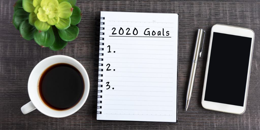 2020 goals written in notebook