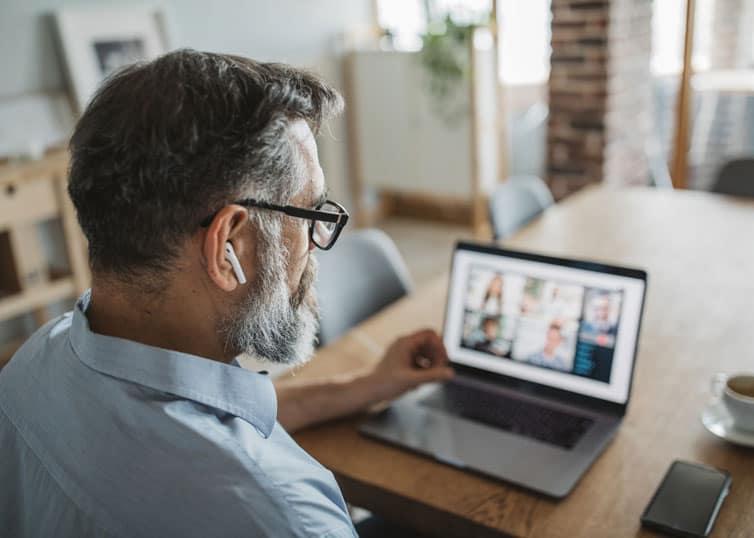 Real estate appraiser watching a McKissock Learning webinar