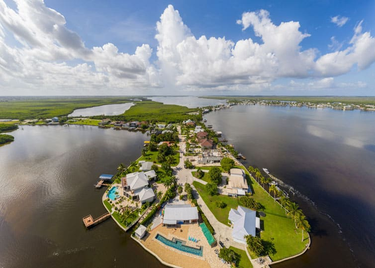 Aerial drone photo Matlacha Florida residential island