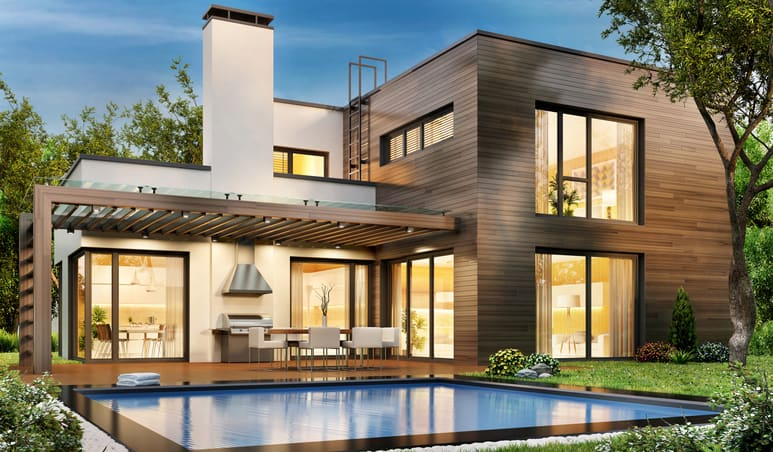Modern luxury home with swimming pool and outdoor entertaining area